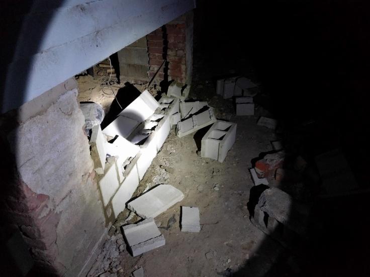 Smashed in cinder blocks
