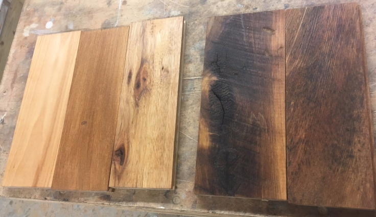 Hardwood floor samples from Whole Log Lumber
