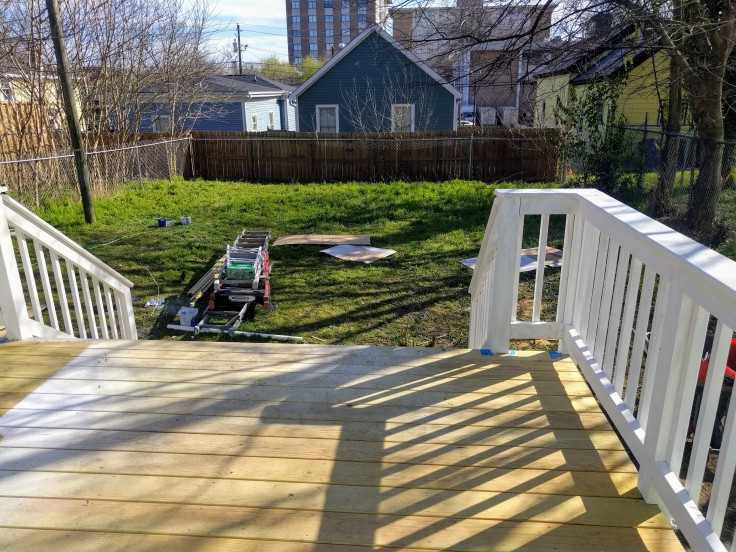 Painted deck railing