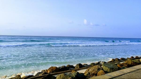 Barbados boardwalk and beach