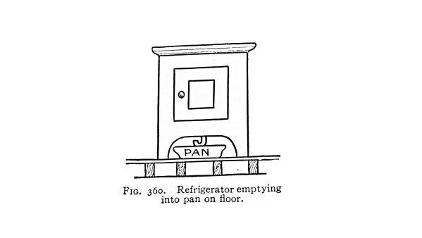 Refrigerator emptying into pan on floor