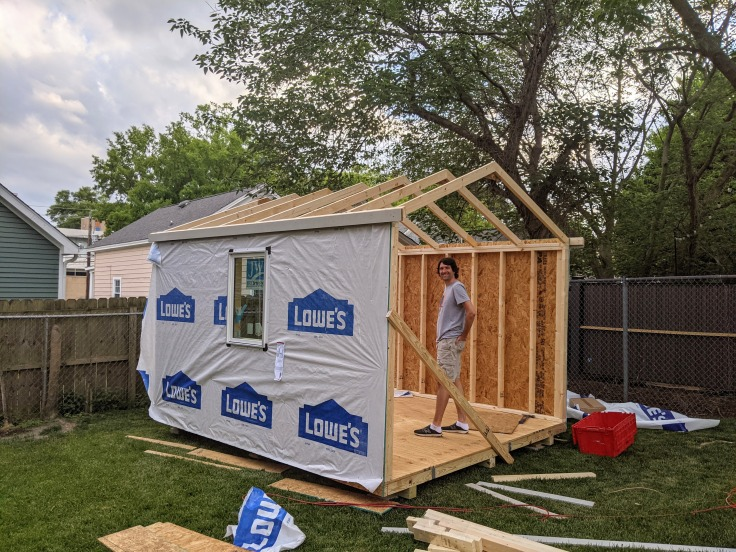 Shed after 1 day of construction
