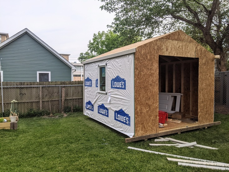 Shed after 2 days of construction