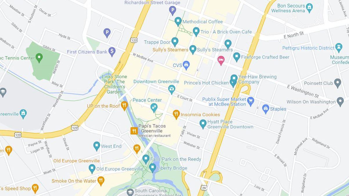 Greenville SC Map