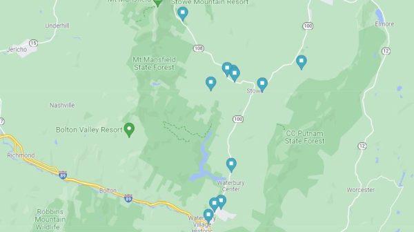 Stowe and Waterbury Map